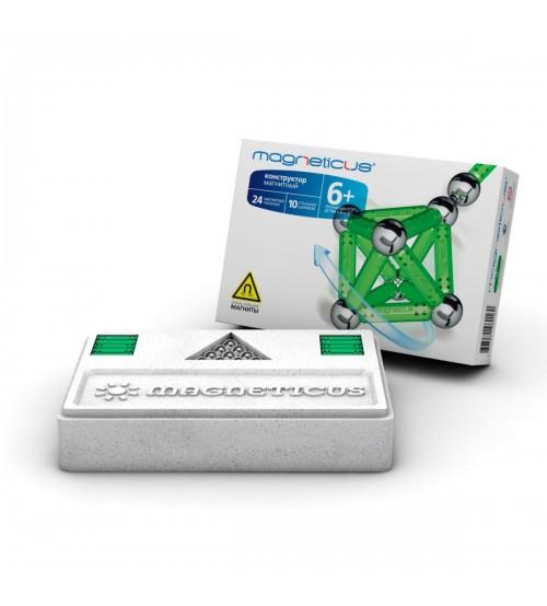 Конструктор магнитный Magneticus (Магнетикус) 34 элемента, зеленый