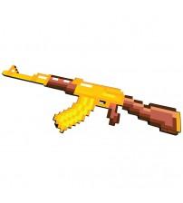 Автомат АК-47 золотой 8Бит пиксельный со звуком и светом 68см