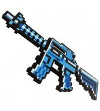 Автомат М4 8Бит синий пиксельный 39см