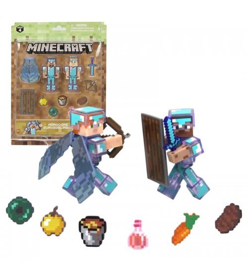 Набор фигурок Minecraft Steve & Alex Хардкор набор для выживания 8см
