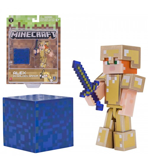 Фигурка Minecraft Alex in Gold Armor 8см