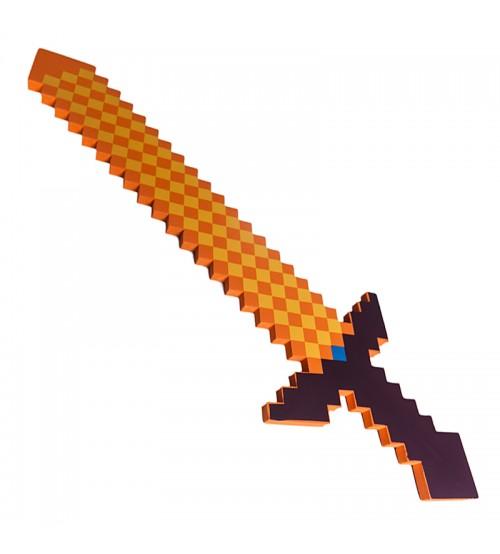Меч 8Бит оранжевый пиксельный 75см