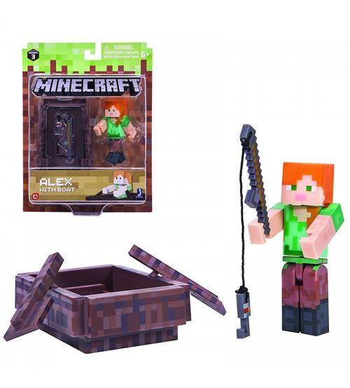 Фигурка Minecraft Алекс с Лодкой 8см
