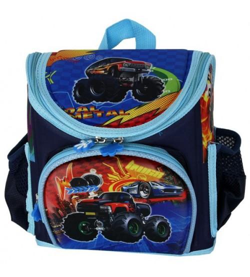 Голубой ранец Hot Wheels с машинкой